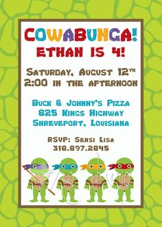 Ninja Turtle Invitation- white background