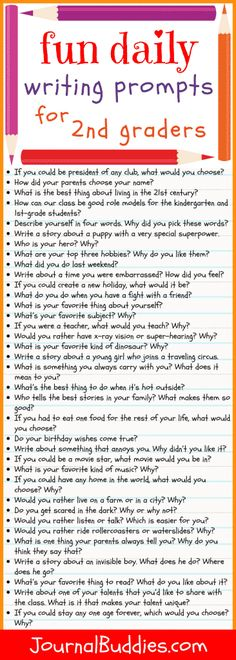 Fun Daily Writing Prompts for Second Graders See this! Use these writing prompts for second-grade students as a fun way to get your class interested [. Journal Prompts For Kids, Writing Prompts For Kids, Kids Writing, Teaching Writing, Student Teaching, Writing Skills, Daily Journal, Writing Lessons, Teaching Spanish