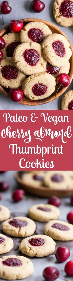 These chewy lemon almond thumbprint cookies are filled with cherry chia jam and are healthy, paleo, vegan, kid approved, and easy to make. They taste buttery and decadent but are gluten free and dairy free!
