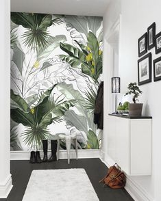 The perfect Murwall Banana Leaf Wallpaper Charcoal Leaf Wall Mural Tropical Leaf Pattern Wall Print for Tropical Home Decor Livingroom Bedroom Entryway Handmade 29 alltoclothing from top store Plant Wallpaper, Tropical Wallpaper, Wallpaper Size, Wall Wallpaper, Leaves Wallpaper, Home Living Room Wallpaper, Wallpaper Designs For Walls, Dragonfly Wallpaper, Cheap Wallpaper