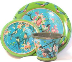 SCARCE 20's Tin Toy Tea Setting Bluebirds & by OldeTymeNotions, $36.00