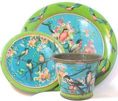 SCARCE 20's Tin Toy Tea Setting Bluebirds & by OldeTymeNotions, $36.00