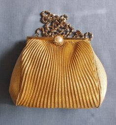 Vintage Evening Bag Gold Fabric Wedding Bridal Party Purse Special Occasion Gift for Her Birthday Christmas Anniversary