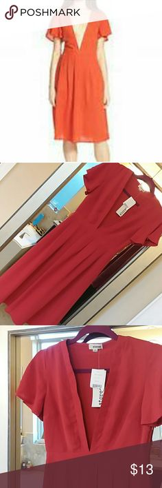 🌷NWT Fantastic Deep V Dress!!!!! storee from Nordstrom Prefect condition!!!!! Gorgeous burnt Sienna  Prefect empire waist Flowy cap sleeves Zip at side Pleats at waist for great hourglass shape Deep V neck to waist!!!!! BEAUTIFUL!!!!!!! storee Dresses