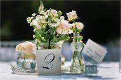 Blush pink wedding centrepiece