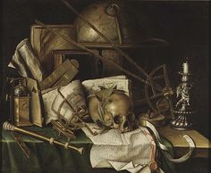 'Vanitas Still Life with Astronomical Instruments' by Christian von Thum (1625-96), Swedish
