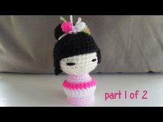 (crochet - part 1 of 2) How To Crochet a Kokeshi Japanese Doll - Yarn Scrap Friday - YouTube
