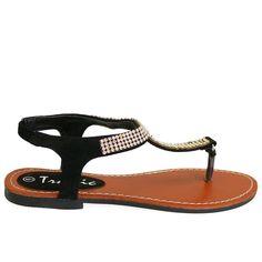 TY-P128-333 Black Rhinestone Detail Flat Sandals