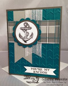 handmade greeting card, masculine, anchor, plaid, happy birthday, blue & gray, DIY, demonstrator, paper crafting, easy, stamping, greeting card, craft, paper, *Stampin' Up, by Amy Frillici, Gathering Inkspiration Stamp Studio, order products online at amysuzanne.stampinup.net
