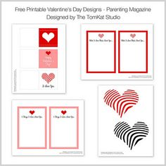 The TomKat Studio: {Valentine's Day} Parenting Magazine Mention & Free Printable Designs! Zebra heart gift tags or banner dangles, and blank notecards