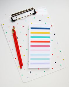 We absolutely love this multicolor tiny polka dot clipboard by Pencil Shavings Studio