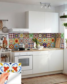 DIY Set of 24 vintage mural mexican Tiles Decals bathroom stickers mixed Tiles for walls Kitchen hom Come in different sizes Tile Decals, Vinyl Tiles, Wall Tiles, Mexican Kitchen Decor, Mexican Kitchens, Bathroom Stickers, Contemporary Kitchen Design, Cuisines Design, Home And Deco