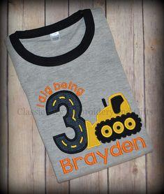 Bulldozer shirt construction birthday shirt by ClassicCityEmb