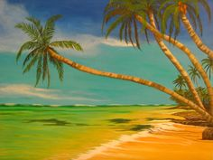 Watercolor palm trees | Leaning Palm Trees Painting by Elaine Haakenson - Leaning Palm Trees ...