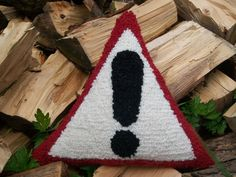 British Road Sign Cushion / Pillow  Hand Hooked by WoollyLakes, £25.00
