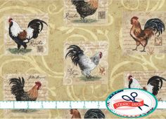 CREAM ROOSTER Fabric by the Yard, Fat Quarter Chicken Fabric Kitchen Fabric 100% Cotton Fabric Quilting Fabric Apparel Fabric w9-30