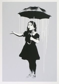 """dealing with acid rain. """"Nola"""" 2008by Banksy. Auctioned for US$19933"""