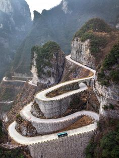 """ Tianmen Mountain, China""...The ""Heaven-Linking Avenue,"" also known as the Big Gate Road, in the Hunan province of China, has been called one of the ""most dangerous"" roads in the country. Starting from 200 meters below sea level the serpentine road reaches 1300 meters above sea level making a total of 99 hair-pin turns along the way."