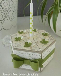 stampin windowbox window box cake birthday bow fensterschachtel fensterbox Geburtstagskuchen torte