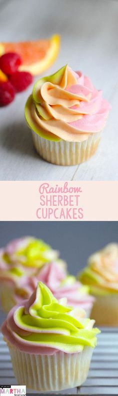 Personalized Graduation Gifts - Ideas To Pick Low Cost Graduation Offers Rainbow Sherbet Cupcakes - Raspberry, Orange, And Lime Flavors Come Together In This Reimagined Summertime Treat Baking Cupcakes, Yummy Cupcakes, Cupcake Recipes, Baking Recipes, Cupcake Cakes, Dessert Recipes, Fruit Cupcakes, Baking Ideas, Tolle Desserts