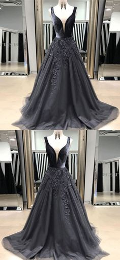 A-Line V-Neck Sweep Train Grey Tulle Prom Dress with Appliques, gorgeous grey v neck long prom dresses, elegant sweep train tulle evening dresses with appliques #greydress #eveningdress