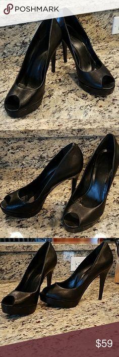 "Black Leather, Peep Toe, Stilettos 5"", sexy peep toe stilettos - a classic must-have! Aldo Shoes Heels"
