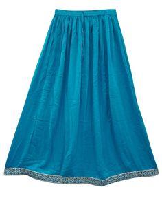 Womens Indian Long Skirts Blue Golden Sari Border Maxi Skirt India Clothing