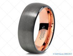 Black Gunmetal Tungsten Ring Rose Gold Wedding Band Ring Tungsten Carbide 8mm 18K Tungsten Ring Man Wedding Band Women Anniversary Size