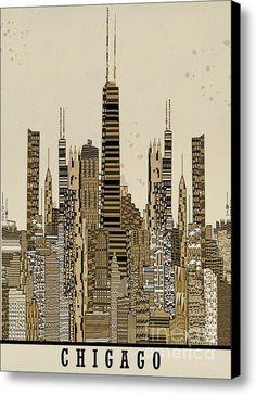 Chicago City Vintage Skyline Canvas Print / Canvas Art By Bri Buckley