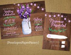 Rustic Spring Mason Jar Wedding Invitation,Purple Lilacs,Fairy Lights,Rustic,Elegant,Simple,Traditional,Custom,Printed Invitations,or Sets