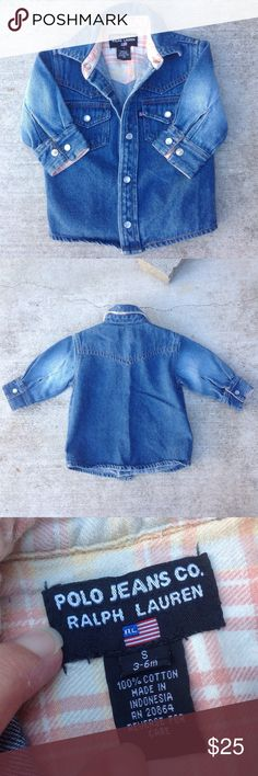 Polo Jeans Co Ralph Lauren Infant Boys Jean Jacket Five snap buttons run down the front,two pockets on the front and snaps at the wrist. 100% Cotton Marked 3-6m New condition Polo Co. Ralph Lauren Jackets & Coats Jean Jackets