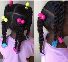 Beautiful chunky pigtails and twists with Sweet Pea and Little Lady purple, turquoise and hot pink GaBBY Bows!