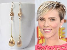 long drop earrings gold, dangle earring scarlett johansson earrings celebrity inspired jewelry
