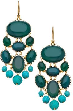 David Aubrey Emerald Glass Turquoise Chandelier Earrings on shopstyle.com