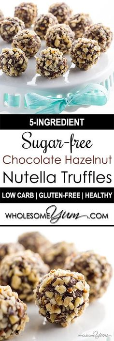 5-Ingredient Sugar-free Chocolate Nutella Truffles (Low Carb, Gluten-free) - A super easy Nutella truffles recipe! These sugar-free, gluten-free, & low carb chocolate truffles taste like Nutella & have a crunchy hazelnut coating.