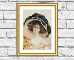 """Elegant, beautiful, vibrant and cheerful pattern """"Victorian Hat"""". These patterns look especially attractive when viewed from a distance and so easy to stitch! Perfect for any style interiors and any room in your home including living rooms and bedrooms. $6,99"""