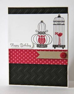 Happy Birthday Birdies  Stamps: Avairy, Create a Cupcake  Paper: Basic Black, Crumb Cake, Whisper White, Raspberry Ripple DSP  Ink: Basic Black, Raspberry Ripple  Accessories: In Colour Dahlia, Basic Rhinestones, Dimensionals, Bitty Banners Framelits Die, Chevron Embossing Folder, Word Window Punch