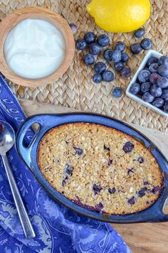 Slimming Eats Blueberry and Lemon Baked Oats - gluten free, vegetarian, Slimming World and Weight Watchers friendly Baked Oats Slimming World, Slimming World Recipes Syn Free, Slimming World Diet, Slimming Eats, Slimming World Overnight Oats, Oats Recipes, Smoothie Recipes, Baking Recipes, Baking Ideas