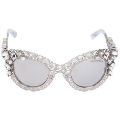 DOLCE & GABBANA Swarovski Embellished Cat Eye Sunglasses ($1,073) ❤ liked on Polyvore featuring accessories, eyewear, sunglasses, glasses, fillers, silver, dolce gabbana sunglasses, dolce gabbana glasses, cateye glasses and dolce gabbana eyewear