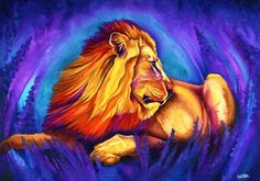 Papa: Signed Print from original watercolor lion painting.