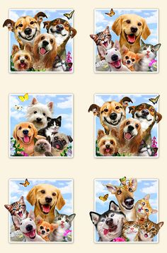 "Pet Selfies - Noses, Smiles & Love - Cream - 24"" x 44"" PANEL- Quilt Fabrics from www.eQuilter.com"