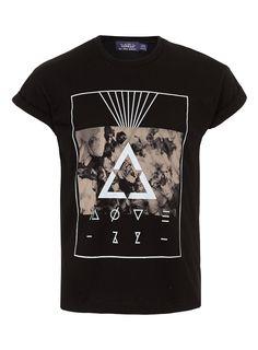 BLACK SMOKE PRINT HIGH ROLL T-SHIRT - Mens T-shirts & Tank Tops - Clothing - TOPMAN USA