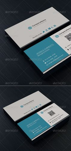 Clean Business Card #blue #QR Code • Click here to download ! http://graphicriver.net/item/clean-business-card-vol-03/4772027?s_rank=31&ref=pxcr