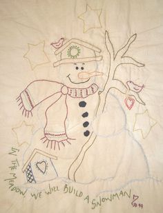 hand embroidery santas | Hand Embroidery patterns to use to make your own table runners, quilts ...