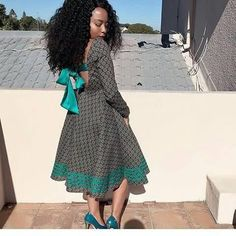Shweshwe dresses outfits 2019 collection - style you 7 African Dresses For Women, African Wear, African Attire, African Fashion Dresses, African Outfits, Ankara Fashion, African Traditional Dresses, Traditional Outfits, Seshweshwe Dresses