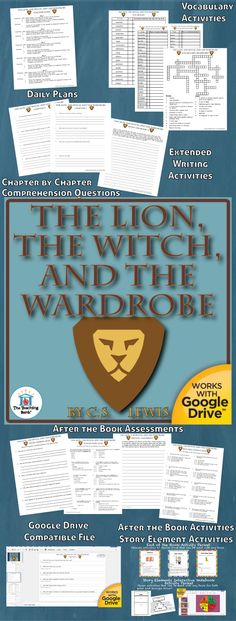 The Lion, the Witch, and the Wardrobe Novel Study is a Common Core Standard aligned book unit to be used with The Lion, the Witch, and the Wardrobe, Book 2 in the Chronicles of Narnia series by C. S. Lewis. This download contains both a printable format as well as a Google Drive™ compatible format.