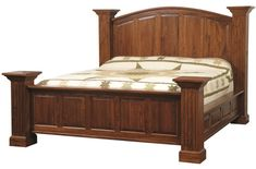 Solid wood Cherry bed frame, Amish handcrafted bedroom furniture, American made, four poster bed, panel bed, full, Queen, King, California King sizes available