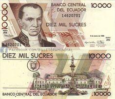 Ecuador (1988-2000)  - 10mil sucres - Motivo Vicente Rocafuerte