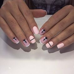Interesting Geometric Nail Art Ideas, You Need To Try To Choose Is Endless - Page 11 of 21 - Dazhimen Manicure Nail Designs, Nail Manicure, Nail Art Designs, Nails Design, Design Design, Minimalist Nails, French Nails, Prom Nails, Fun Nails