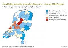 De potentiële beroepsbevolking (alle personen tussen de 20 en 65 jaar) neemt af, zowel op nationaal als regionaal niveau. Naar verwachting zet deze trend door en krijgt tussen nu en 2025 ongeveer 60% van de Nederlandse regio's hiermee te maken. Dit komt onder andere door de vergrijzing.